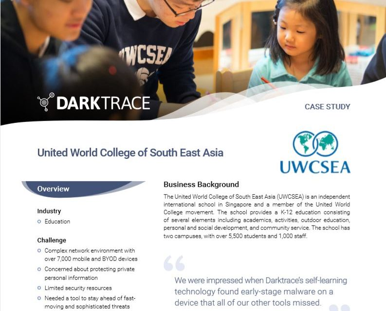 UWCSEA deploys Enterprise Immune System to protect campus network
